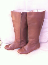 STYLISH JAG BROWN ALL LEATHER KNEE HIGH RIDING BOOTS SIZE: 39 GC