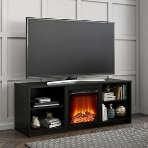 """Fireplace TV Stand for TVs up to 65"""" Black Oak Mainstays Modern Look Cozy Feel"""