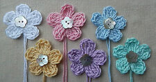x6 Crochet Flowers appliques PASTELs Mother Pearl button Embellishments Toppers