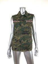 Ecote Embellished Camo Vest XS Zip Up Snaps Drawstring Waist Utility Distressed