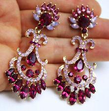 Rhinestone Chandelier Earrings Bridal Prom Pageant 2.8 inch Long Hot Pink