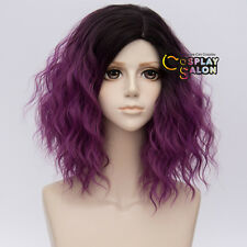 35CM Lolita Black Mixed Red Purple Curly Ombre Fluffy Short Cosplay Wig Party