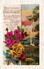 R131085 Greetings. Birthday Wishes to My Brother. House and Lake. Flowers. Rotar