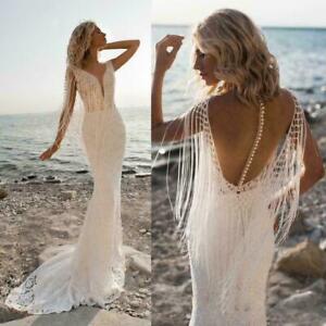 Boho Lace Sheer Mermaid Beach Wedding Dress Buttons V Neck Custom Bridal Gown