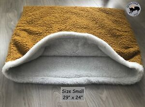 Snuggle/Settle/Cave Bed/Sack for Dogs Fleecy, Warm, Burrow, Luxury Mustard-Small
