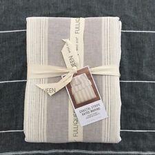 West Elm Coastal Stripe Queen duvet cover only Frost Gray Cotton Linen