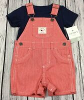 Carter's Boys 6 Months 4th Of July Cotton Red Denim Overalls Shorts Outfit. Nwt
