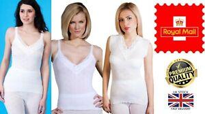 New Women's 2 Pack 100% Cotton Snowdrop Spencer Underwear Vest Strappy Tops