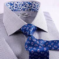 Mens Blue Mini Check Business Dress Shirt Formal Floral Boss Stylish Sale