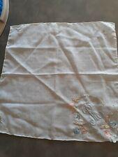 Needlepoint Handkerchief Monogram R blue peach white