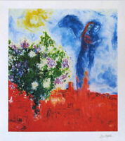 Marc CHAGALL Couple Above St. Paul Offset Litho Print 25-3/4 x 23