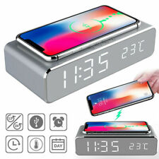 Qi Wireless Phone Charger Digital LED Desk Table Alarm Clock Time Temperature AU