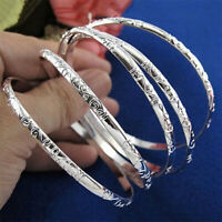 5Pcs 925 Silver Plated Carving Cuff Bracelet Bangle Jewelry Sets For Women Newly