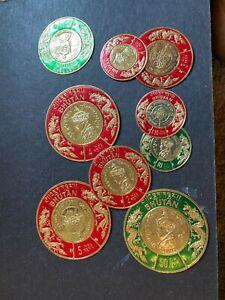 bhutan coins stamps mnhog scott mk77-85 d212