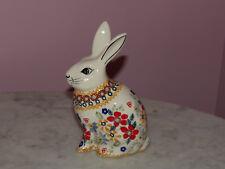 Polish Pottery UNIKAT Bunny Figurine!  Rembrandt Pattern!