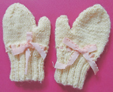 Antique Hand Knit Mittens For Baby Or Large Doll - Expert & Perfect