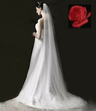 "5 METRE/196"" SOFT TULLE, 1 TIER, WHITE CATHEDRAL VEIL WITH COMB"