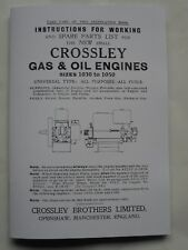Crossley Gas & Oil Engine Instrution & Spare Parts List for 1030 to 1050