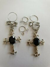 Non Pierced Nipple Jewellery clip on  2 pcs  Uk seller Cross with black  stone