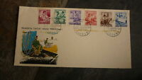 OLD INDONESIA STAMP ISSUE FDC, 1957 PENDERITA TJATIJAT SET OF 5 STAMPS