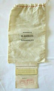 Vintage Oliver Ames Company Drawstring Bag Pouch Parkersburg, West Virginia Rare