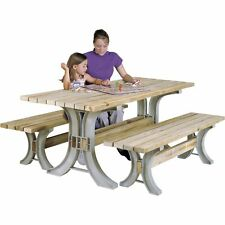AnySize Do-It-Yourself Outdoor Indoor Picnic Table Set Kit Maintenance-Free Legs