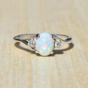 925 Silver Oval White Fire Opal Ring for Women Wedding Party Jewelry Size 6-10