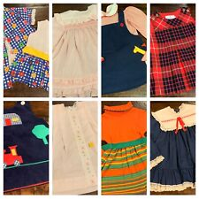 Vtg Lot Girls Clothes Dresses Appliqué 24 Mo 2T Mo Health Tex Peter Pan A25