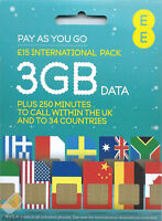 EE International Pay As You Go SIM card PAYG Nano Micro Standard Triple Cut New