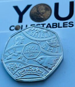 2021 50p Fifty Pence Coin Decimal Day - Arnold Machin RA Obverse - RARE - BUNC