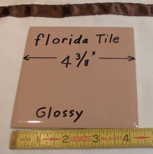 """1 pc. Glossy Ceramic Tile *Wild Rose* 4-3/8"""" by Florida Co. reddest brown; NOS"""