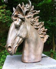 New - Large Bronze Stallion Bust - Garden Sculpture - Horse Statue - Garden Orna
