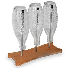 3er Flaschenhalter | Edelstahl / Bambus | Für Sodastream Flaschen