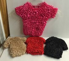 Set Of 4 Popcorn Short Sleeve Shirt Ladies Blouse New Black Red Tan Pink