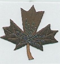 "1 5/8"" x 1 7/8"" Dark Brown Chocolate Maple Leaf Embroidery Applique Patch"