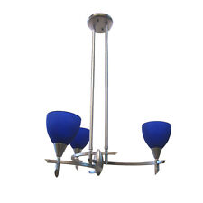 BRUSHED NICKEL AND BLUE GLASS 3 LIGHT CHANDELIER
