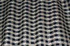 "Cream/Black Checks Woven 100% Matka/Tassah Raw Silk, 54"" Wide, By Yard (WT-412A)"