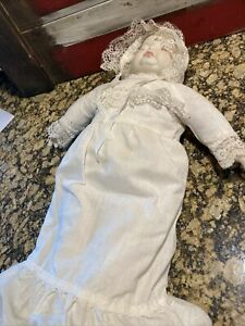 "Vintage 3 Faced Doll  Happy Sad Sleeping - 21"" Long - White Dress Bonnet"
