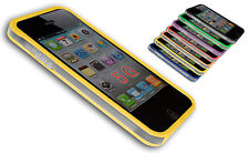 BUMPER COVER CASE FLIP COMPATIBILE IPHONE 5 BICOLORE TRASPARENTE GIALLO