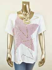CHICO'S  $53 *NEW WHITE STAR SHORT SLEEVES TOP 4. (2X)