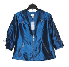 Chico's - Womens Size 1 - NWT $99 - Blue Shimmery Ruched 3/4 Sleeve Jacket