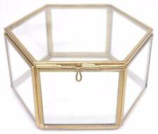 GRANDE scatola di vetro esagonale, Portagioie in vetro, vetro Jewelry Box, Scatola di vetro