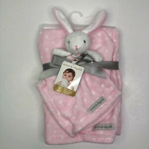 Blankets and Beyond Blanket and Floppy Bunny Security Love Pink Polka Dot