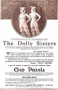 Dolly sisters.1921.Ciro pearls.Advert.Warriors' Day Ball.Covent Garden.Costume