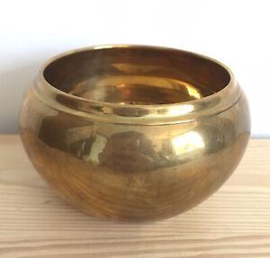 Vintage Brass Round Bowl Small Plant Pot Trinket Dish Retro