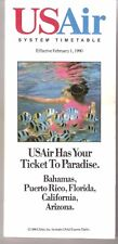 USAIR US AIRWAYS SYSTEM TIMETABLE FEBRUARY 1, 1990 VG+