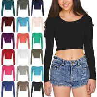 New Ladies Crop Top Long Sleeve Crew Scoop Neck Womens Bralet T-Shirt Vest 8-14