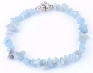 """Bracelet pierres baroque ou chips Aigue marine Qualité /"""" AA /"""""""