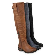 Damen Reiterstiefel Gefütterte Stiefel Leder-Optik Boots 820057 Schuhe