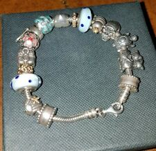 Original Old Pandora bracelet with 14 charms, 2 are 14ct gold